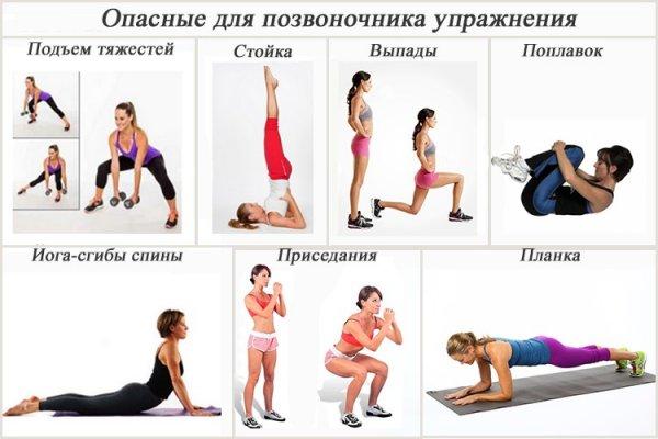 Недопустимые упражнения при развитии сколиоза