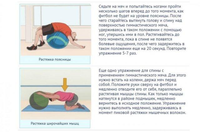 Упражнения на фитболе